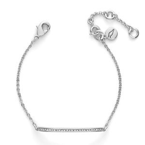 NEW Chloe Isabel silver curved bar pave bracelet